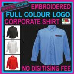 X5 WORKWEAR BUSINESS LONG SLEEVED SHIRT EMBROIDERED COLOUR  DIGITISED LOGO